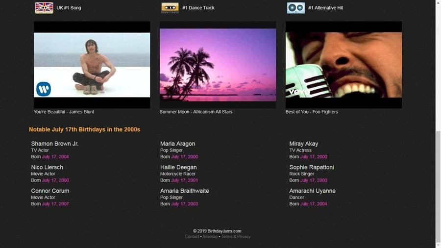 網頁下方還有其他排行榜歌曲,還有當年份出生的歌手及演員。(翻攝birthdayjams)