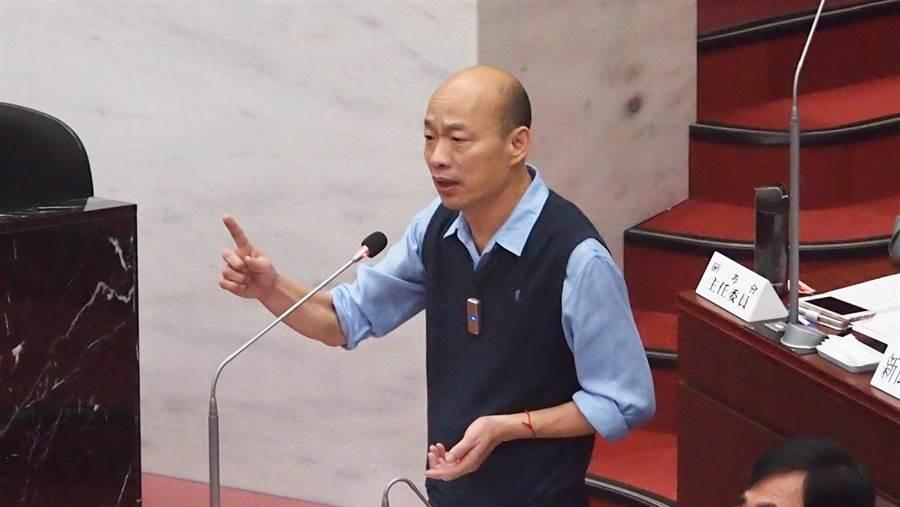 高雄巿長韓國瑜9日在巿議會。(資料照/曹明正攝)