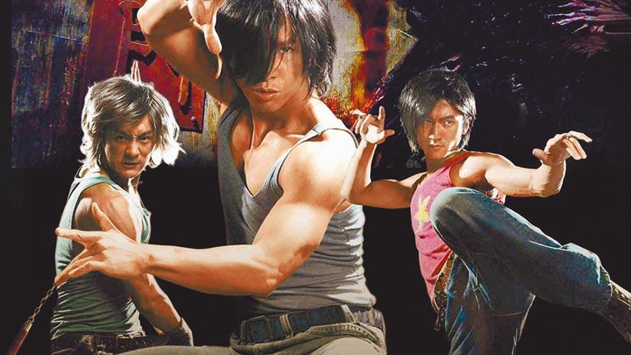 謝霆鋒(右起)、甄子丹和余文樂當年合演武俠電影《龍虎門》,從劇照造型可看出年代感。
