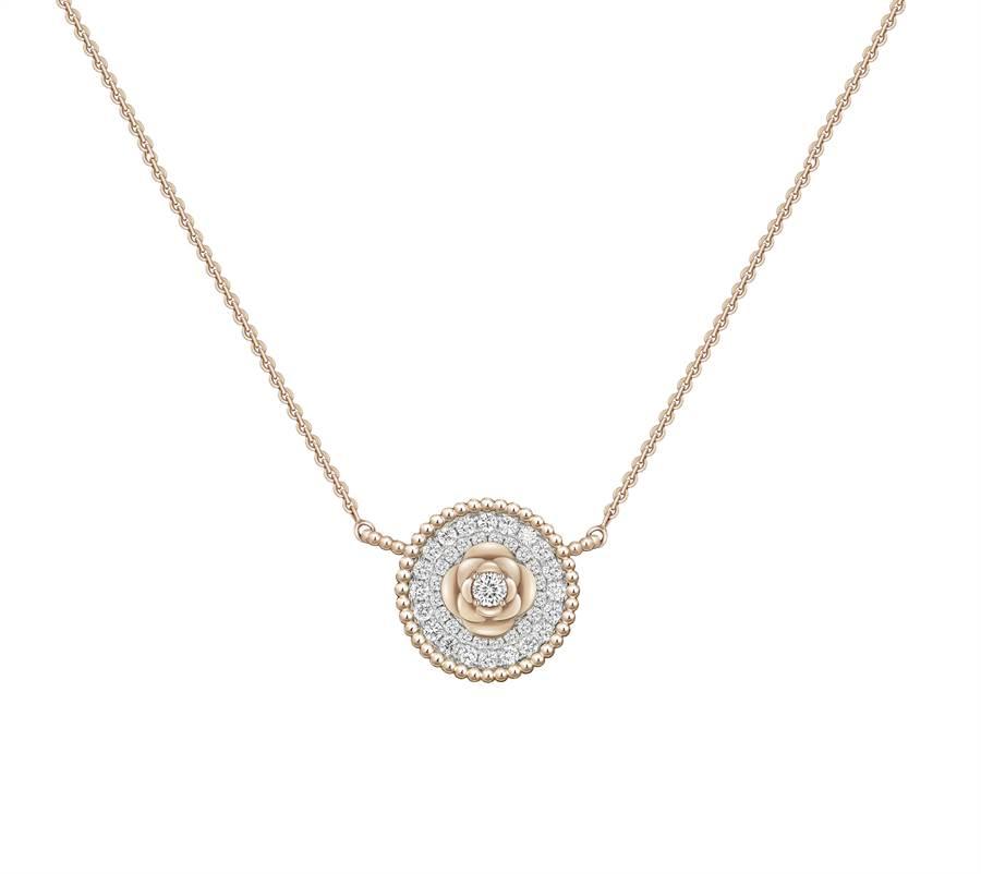 Peonia Diamond Flair 18K玫瑰金鑽石鍊墜,7萬7200元起。(鎮金店提供)