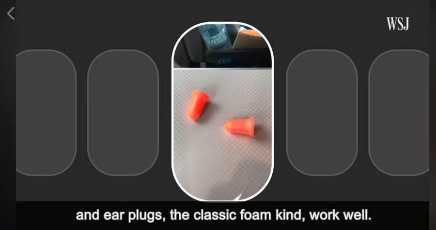 建議準備耳塞或除噪耳機才是最有效方法。(翻攝華爾街日報影片)