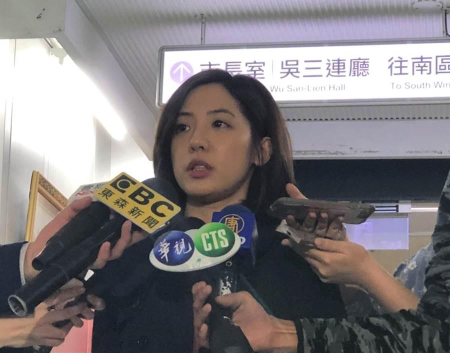 對於選舉無效訴訟出爐,台北市副發言人黃瀞瑩表示,尊重法院判決。(吳堂靖攝)