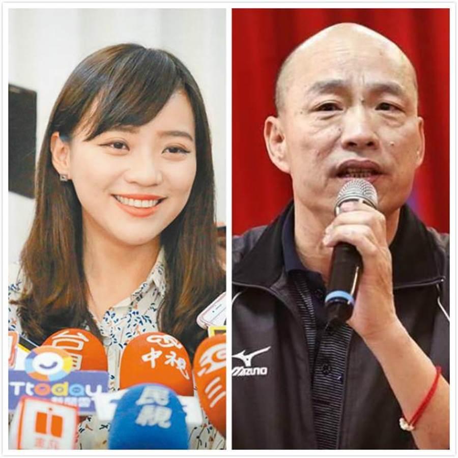 韓國瑜(左)備詢時以「高雄要發大財」回應自經區議題,黃捷(右)卻翻白眼。(翻攝高市議會質詢畫面)