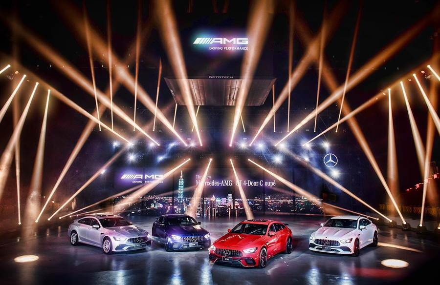 The All New Mercedes-AMG GT 4 Door Coupe是史上第一款同時擁有53(左起)、43、63 S、63等四種性格的Mercedes-AMG GT成員。(台灣賓士提供)