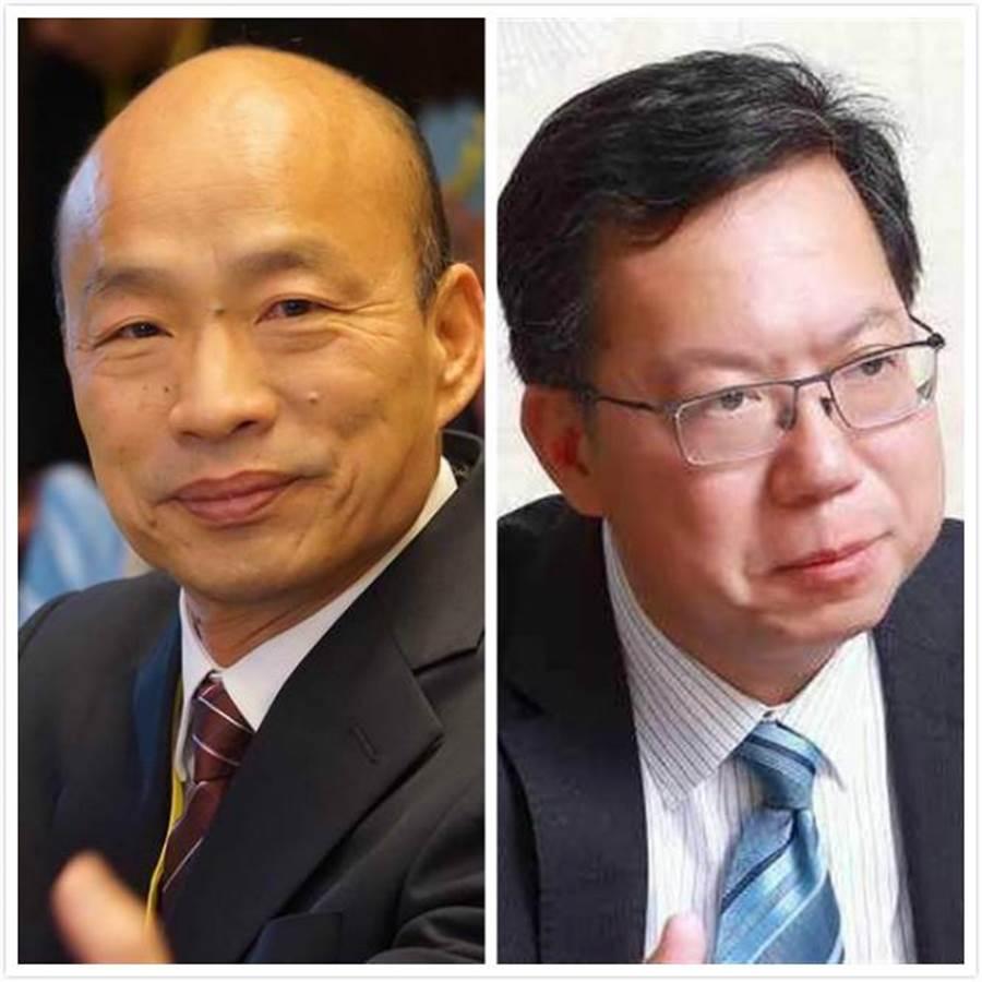韓國瑜(左)和鄭文燦。(圖為中時資料照)
