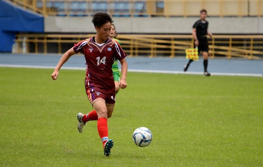 陳英惠梅開二度,幫助新北航源拿下本季木蘭聯賽首勝。(中華足協提供)