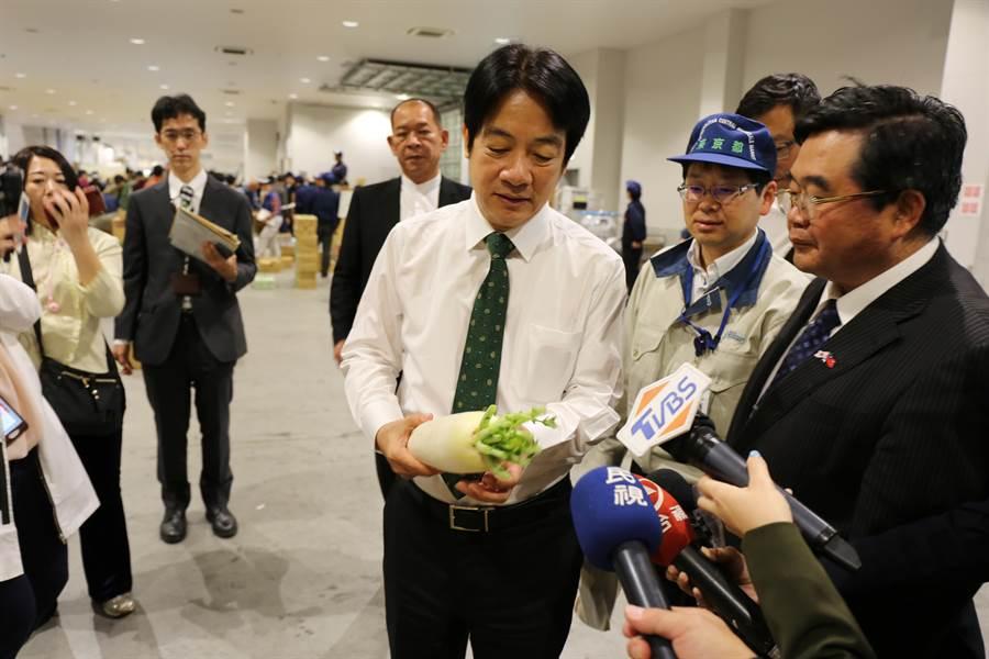 賴清德參訪東京豐洲市場,看蔬果情形。(賴清德辦公室提供)