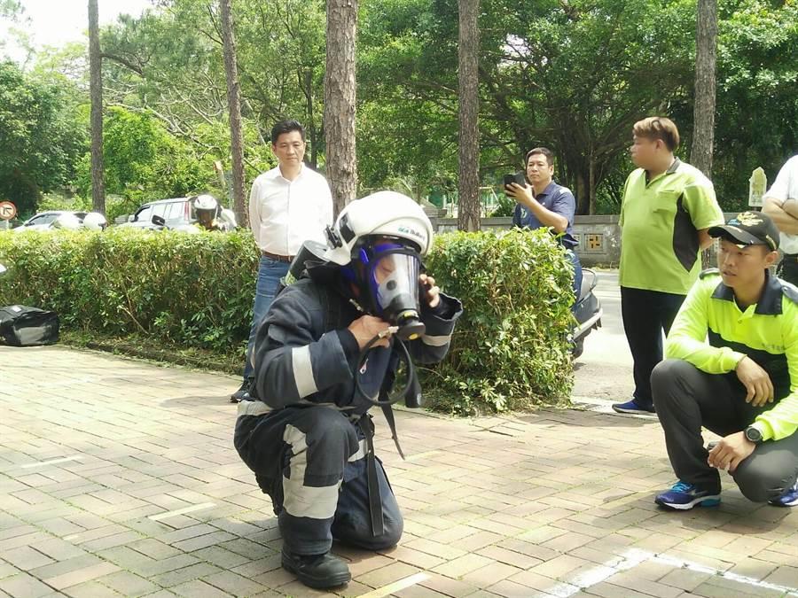 新竹市義消接受消防署抽測,獲「特優」滿分佳績。(徐養齡攝)。