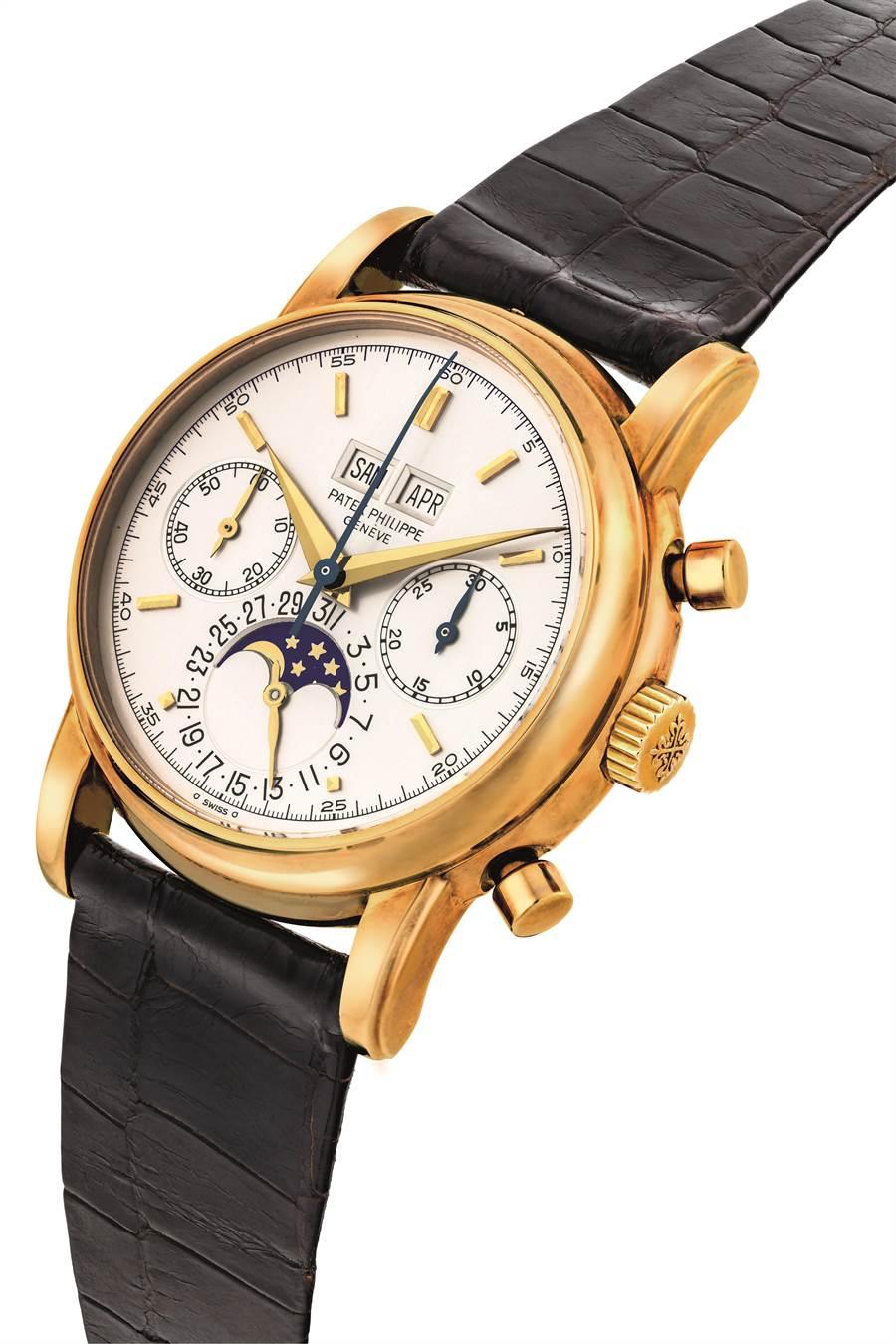百達翡麗18K金型號2499萬年曆月相計時腕表,起拍價2100萬台幣,為鐘表類領拍之作。(Christie's提供)