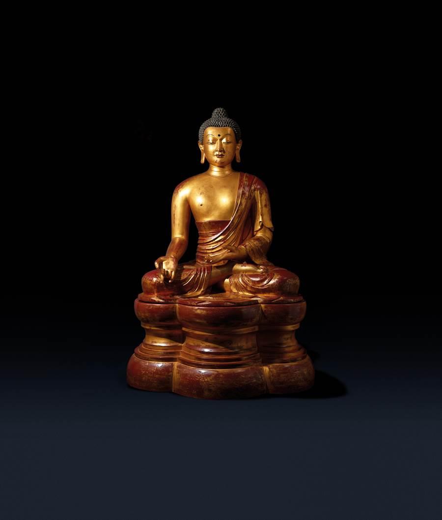 舊金山紺氏洋行舊藏的木胎漆金藥師佛坐像,原為洋行
