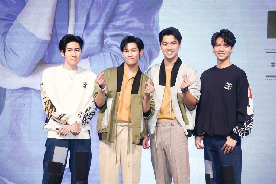 左起Gunsmile、Singto、Ohm、Sing可愛合照。(圖/CME提供)