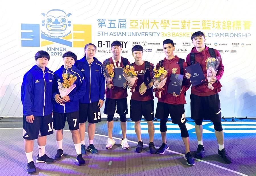 文化女籃與輔大男籃攜手前進FISU世界盃三對三籃球賽。(陳筱琳攝)