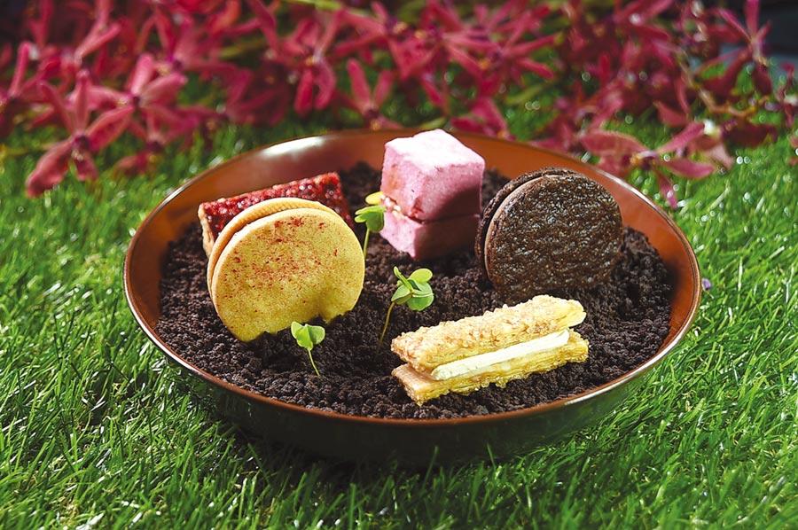 Season洪守成設計的甜點套餐第一道是由5個開胃小點共構的〈SEASON祕密花園〉,其中包括有:棉花糖夾心、酥烤千層派、波拉克、夏香與菲安娜。              圖/姚舜