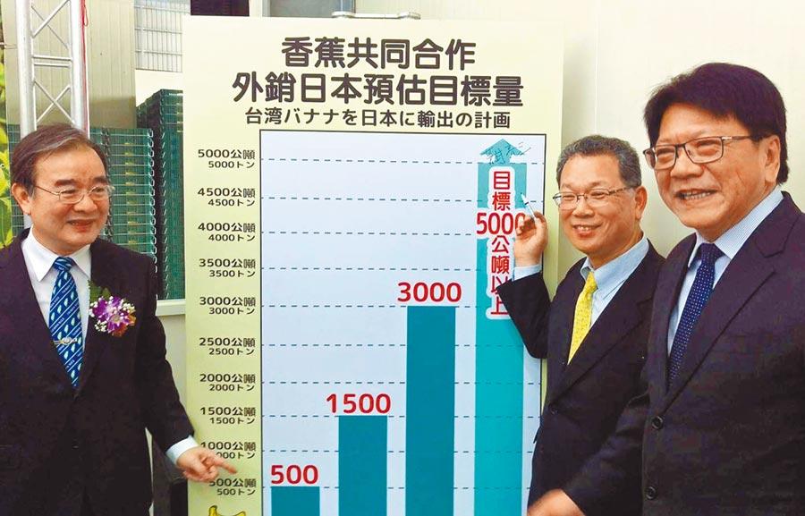 日本荒井商事株式會社跟屏東藝隆農產公司簽訂500噸香蕉採購合約,未來目標希望香蕉銷日能達到每年5000公噸。(潘建志攝)