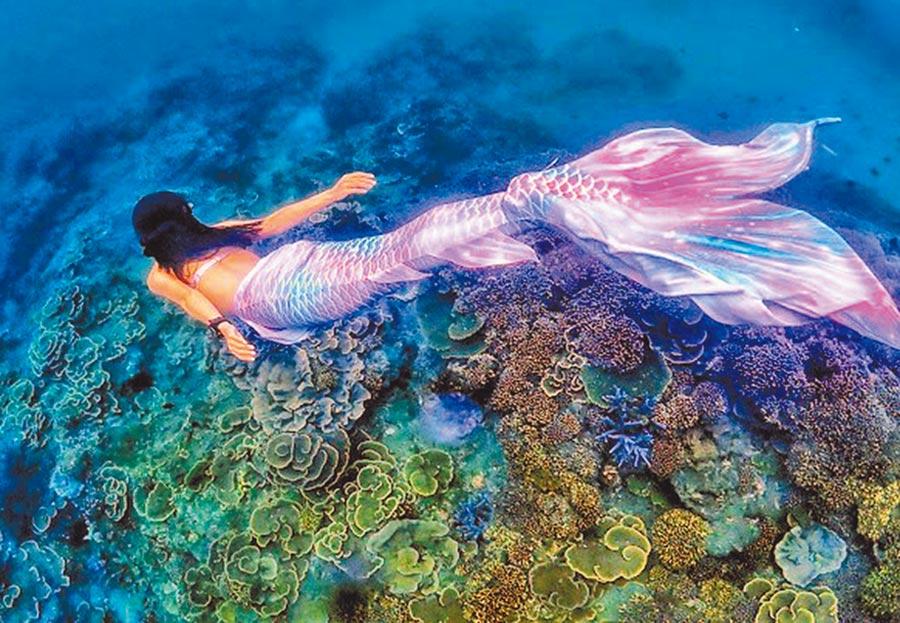 穿著人魚裝徜徉澎湖南方四島珊瑚礁「薰衣草森林」,彷彿置身海洋童話世界之美。(葉生弘提供照片)