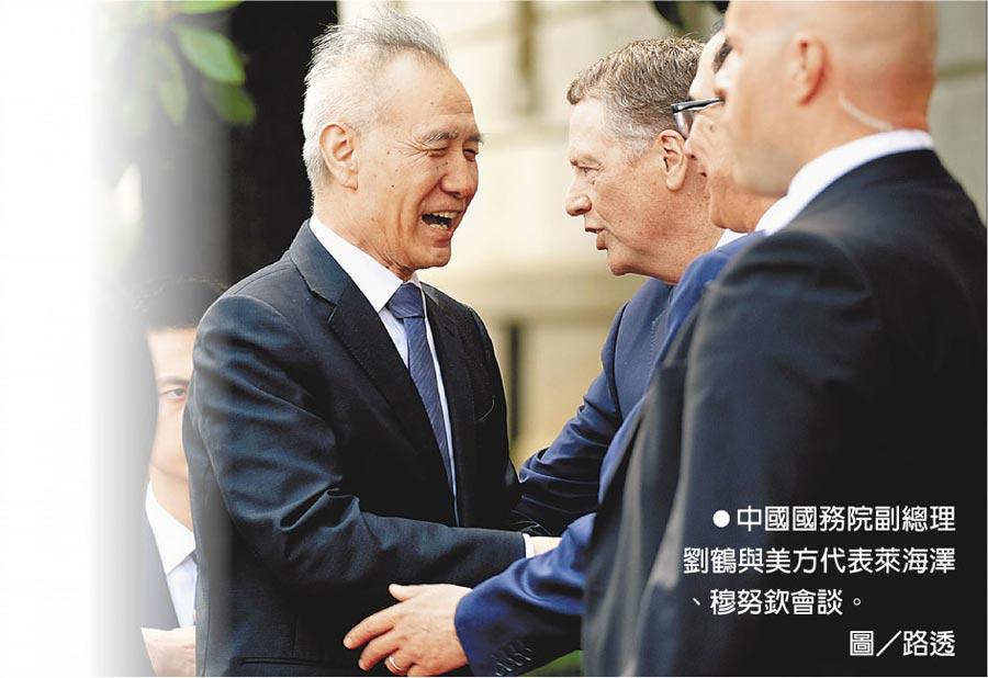 中國國務院副總理劉鶴與美方代表萊海澤、穆努欽會談。圖/路透