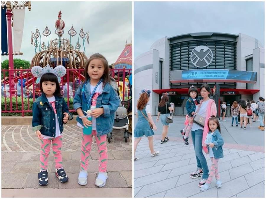 賈靜雯上週帶女兒去香港迪士尼玩。取自臉書