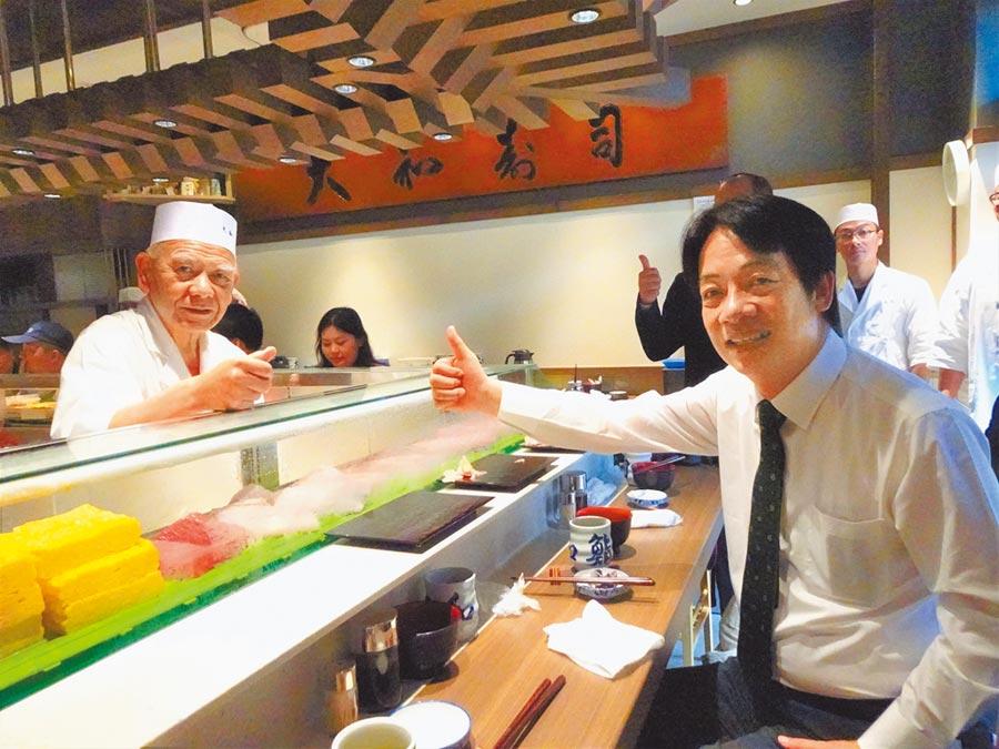 前行政院長賴清德11日一早訪問東京豐洲市場,特別到壽司店享用新鮮壽司,大讚美味可口。昨晚他在日本否認要宣布退選傳聞。(中央社)