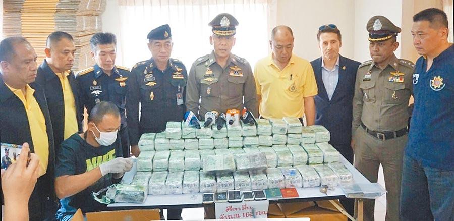 台美泰警方10日在泰國緝獲162公斤K他命,調查發現這批市價近2億元的毒品準備運往台灣。(林郁平翻攝)