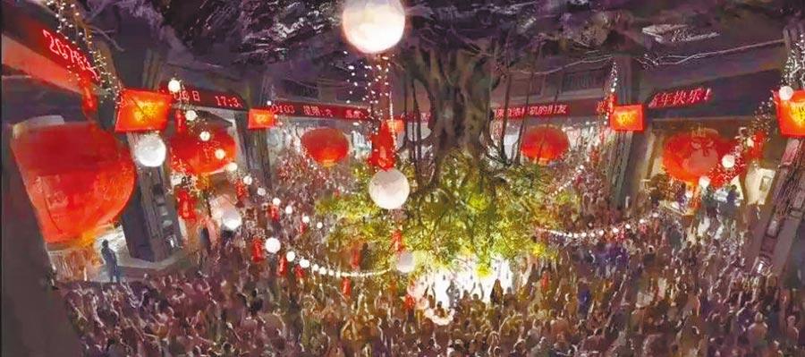 《流浪地球》中的地下城場景。(取自搜狐網)