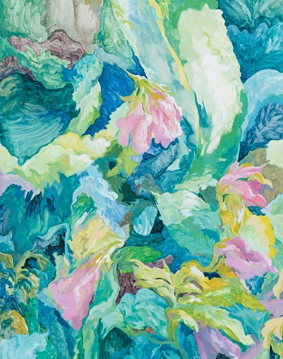 徐佳寧透過藝術家浪漫的視角,畫出〈纏繞的方式〉。(誠品畫廊提供)