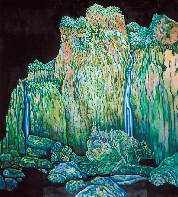 高雅婷的創作常置入中國傳統山水構圖,並加入對於生活的片段觀察,圖為作品〈山#3〉。(誠品畫廊提供)