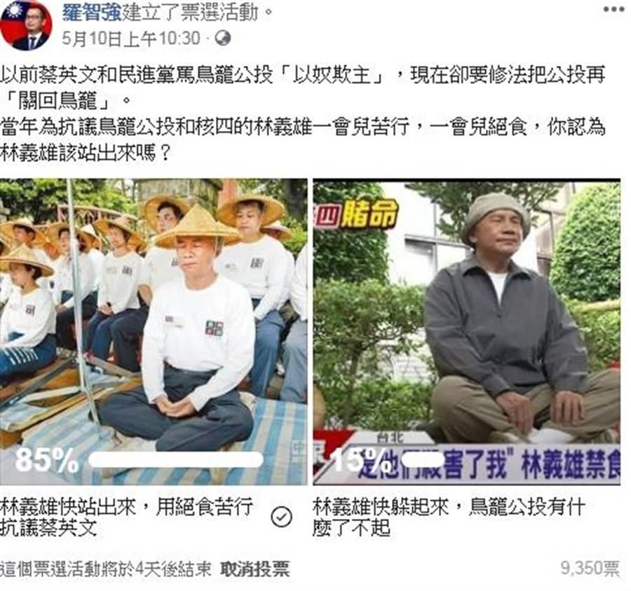 台北市議員在臉書舉辦投票,問林義雄該站出來絕食苦行嗎?經過快3天,累積9千多票,85%民眾認為林義雄應該出來絕食。(羅智強臉書)