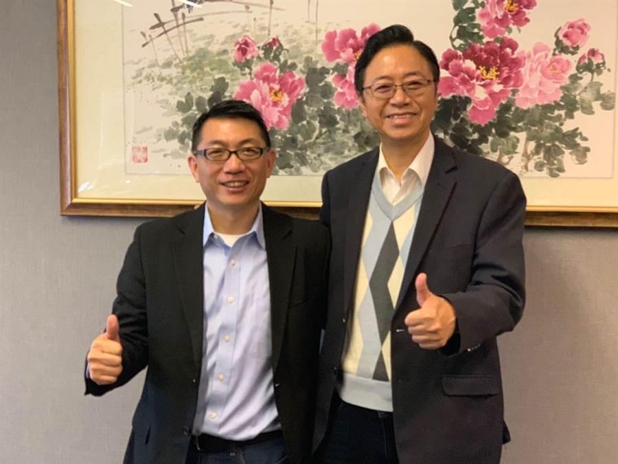 徐正文參加國民黨立委黨內初選,前行政院長張善政公開支持。(王揚傑翻攝)