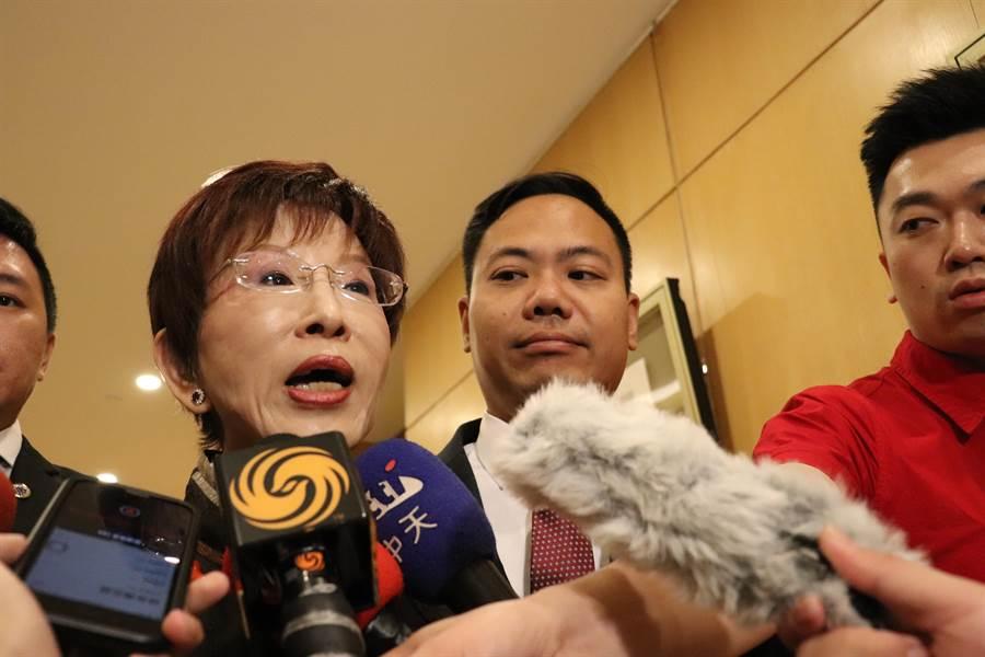 中華青雁和平教育基金會董事長洪秀柱在會後受訪。(記者呂佳蓉/攝)