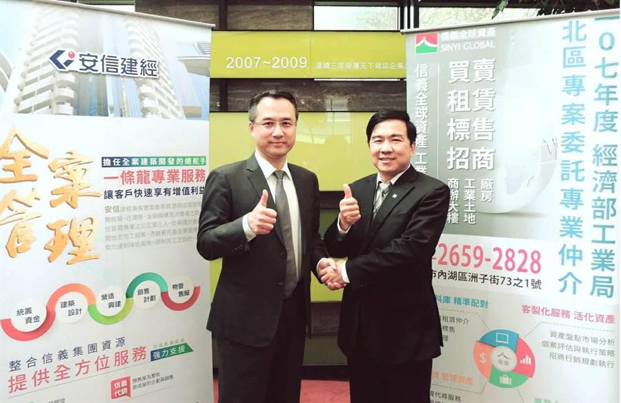 信義集團旗下「安信建經」張峰榮總經理(左)及「信義全球資產」柯宏安總經理(右)攜手合作。