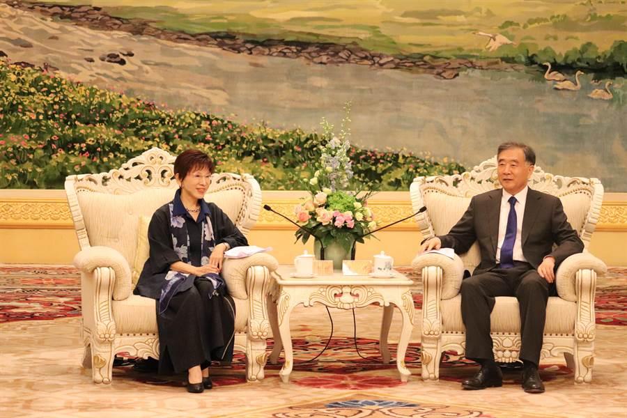 大陸全國政協主席汪洋今日在人民大會堂會見來訪的中華青雁和平教育基金會董事長、前國民黨主席洪秀柱。(記者呂佳蓉/攝)