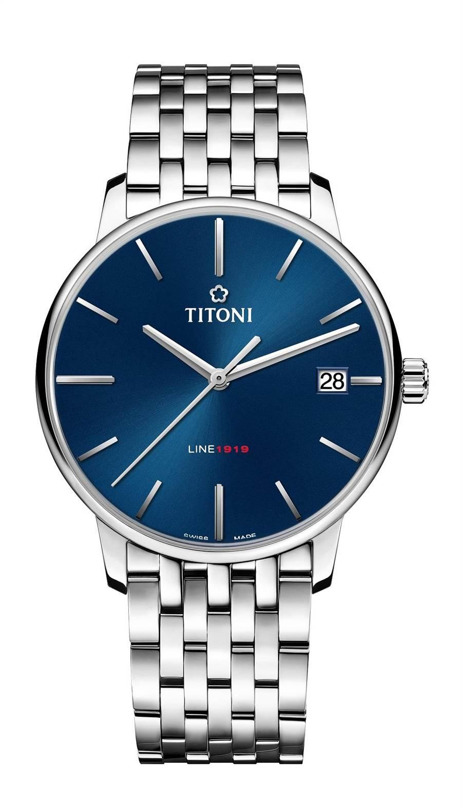 梅花表為歡慶百年推出「LINE1919」系列腕表,首度搭載自製機芯T10,5萬9800元。(TITONI提供)