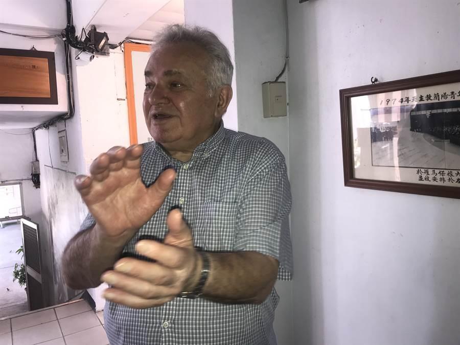 經費有限仍一心打造國際兒童藝術村,高齡84歲的秘克琳神父豪氣不減當年。(胡健森攝)