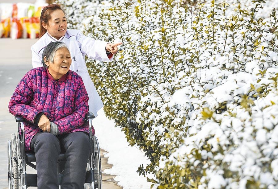 大城縣養老康復中心人員陪伴老人欣賞雪景。(新華社資料照片)
