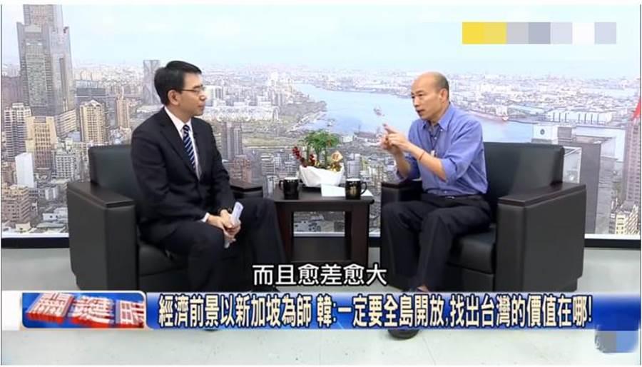 韩国瑜接受专访。(图片取自Youtube)