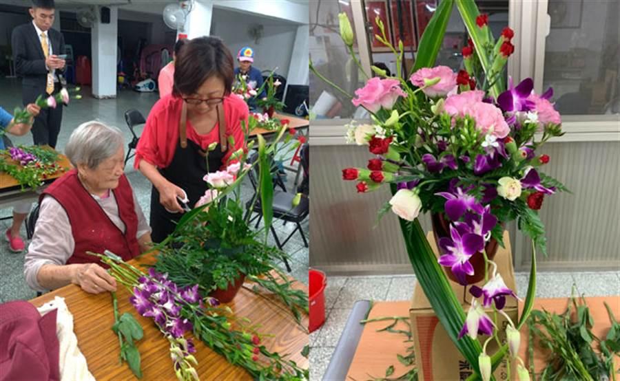 新店、文山社區鄰里開辦花藝插花課,讓媽咪渡過一個特別難忘的母親節。(圖/永慶房屋 提供)