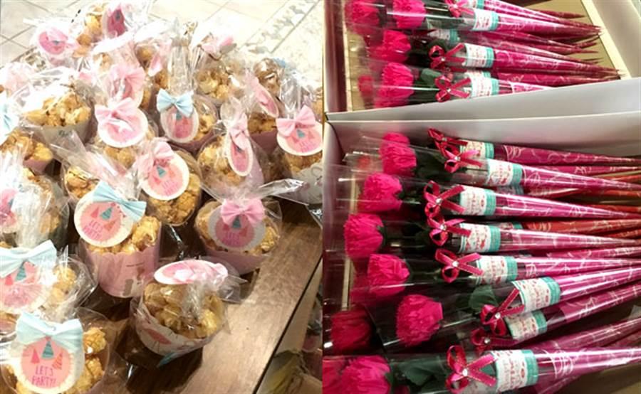 板橋「家麒文化社區」管委會舉辦母親節園遊會活動,現場送出百朵康乃馨香皂花束,表達對社區母親的敬愛。(圖/永慶房屋 提供)
