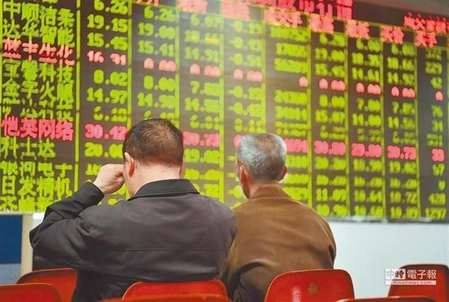 中美貿易戰急遽升溫,A股三大股指14日早盤全線走低。(圖/中新社)