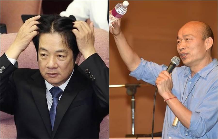 賴清德(圖左)喊「明年的總統大選,韓國瑜(圖右)不可能贏得了我」,網友噴一句話秒打臉他。(資料照)