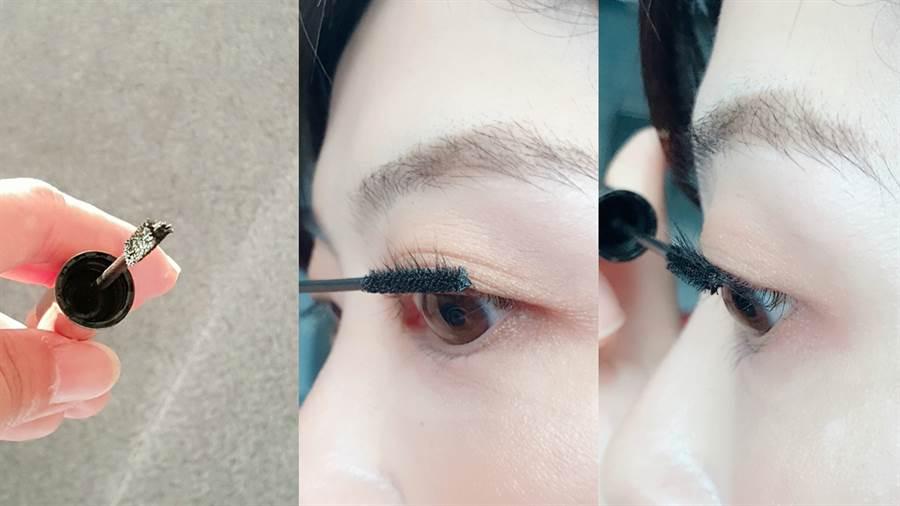 細睫控360o零死角睫毛膏的刷頭呈現三角形,可以更貼合睫毛,刷頭更小較不會在刷睫毛過程中沾到眼皮。(圖/邱映慈攝影)