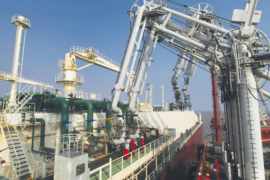 2019年以來,僅有2艘LNG貨輪從美國開至大陸,圖為LNG運輸船停靠於江蘇洋口港。圖/新華社