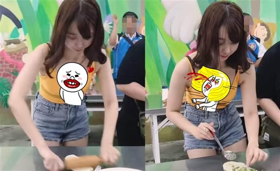 正妹自製蔥油餅 擀麵團畫面太邪惡(圖翻攝自/YouTube搣時潘Miss Pun)