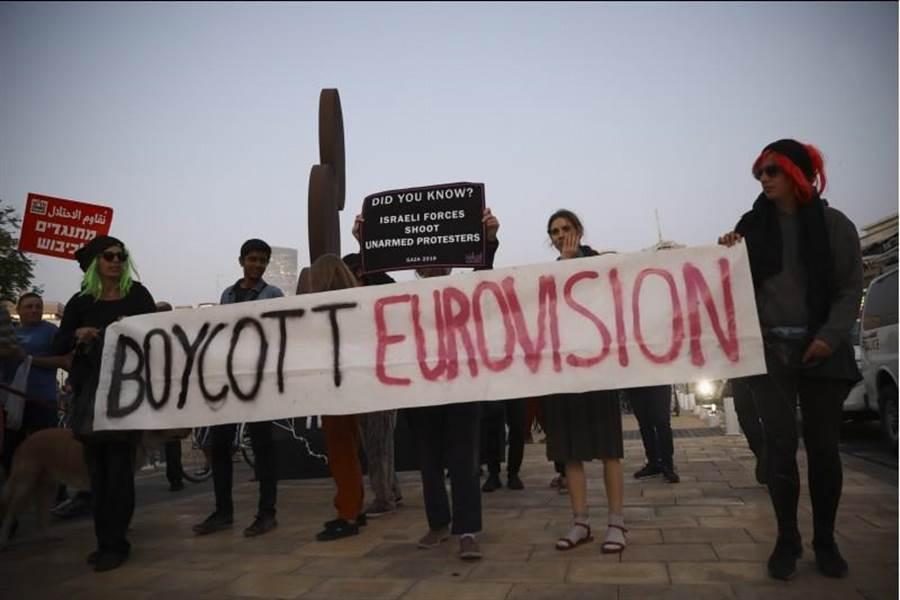 歐洲歌唱大賽準決賽14日在以色列登場,挺巴勒斯坦的運動人士,在加薩舉行和平示威,呼籲抵制大賽。(美聯社)