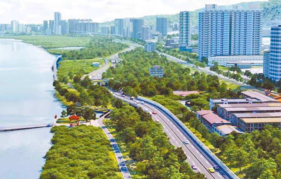 淡北快速道路全長約5.4公里,連接新北市淡水區與台北市北投區;圖為完工後的示意圖。(葉書宏翻攝)