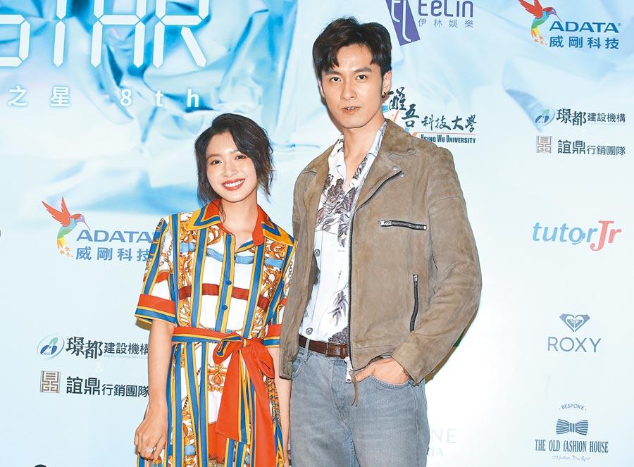張雁名(右)與劉倩妏在客台新戲演兄妹,又一起出席伊林璀璨之星選拔大賽起跑活動。(粘耿豪攝)