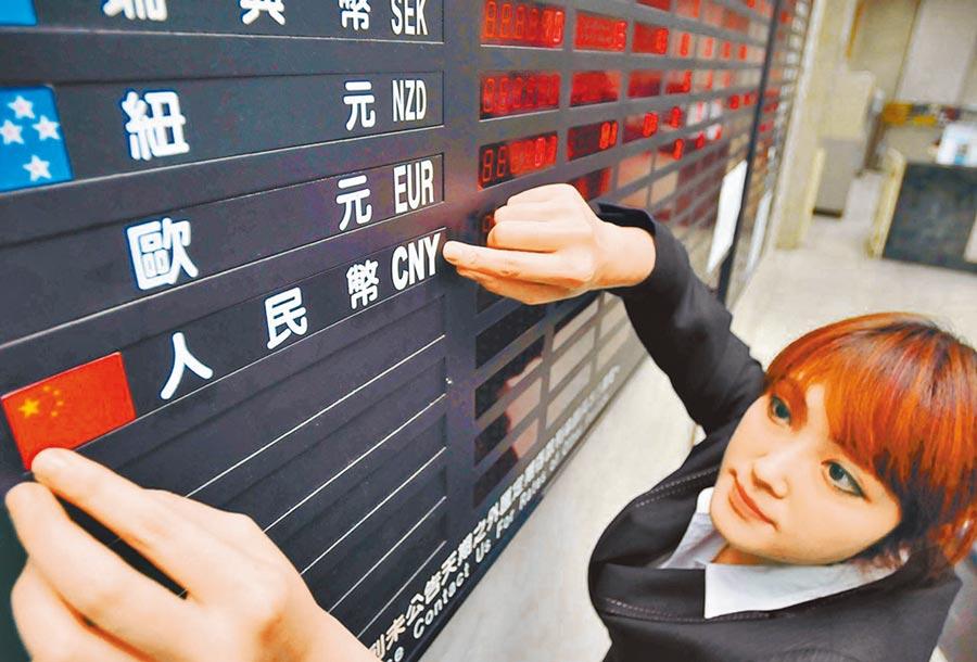 人民幣兌美元近來重挫。圖為行員調整人民幣等存款牌告利率。(本報系資料照片)