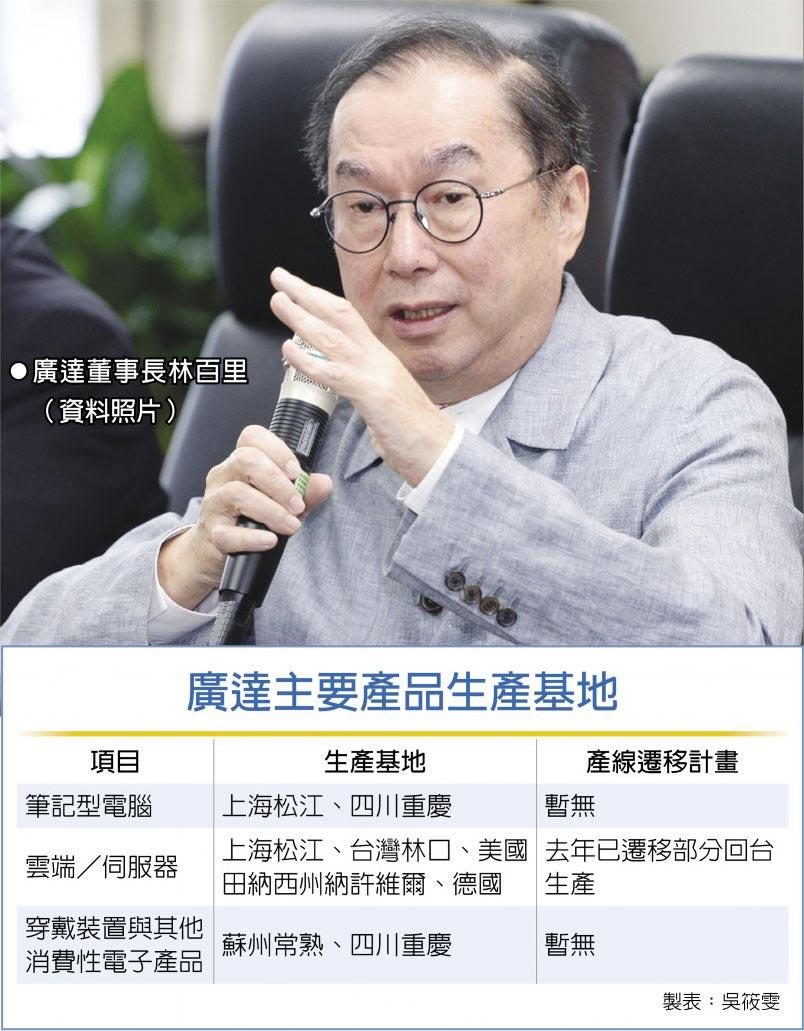 廣達主要產品生產基地廣達董事長林百里 (資料照片)