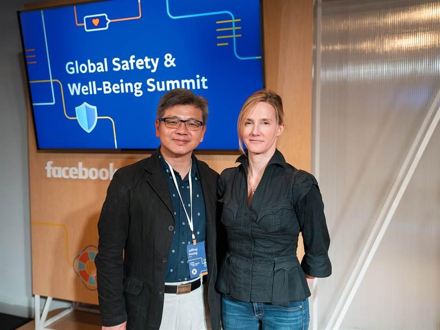 Facebook擴大Facebook網路安全諮詢委員會成員,左為iWIN執行長黃益豐、右為Facebook Head of Global Safety Antigone Davis。(圖/Facebook提供)