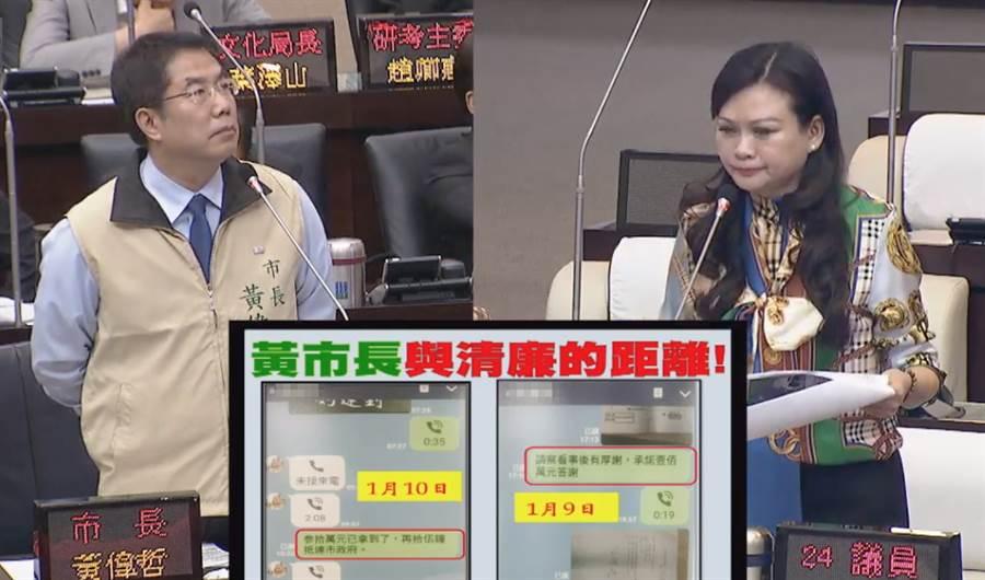 國民黨台南市議員林燕祝今天在議會以「黃市長與清廉的距離」,質詢黃偉哲昔日舊團隊涉嫌拿錢喬事。(曹婷婷翻攝)