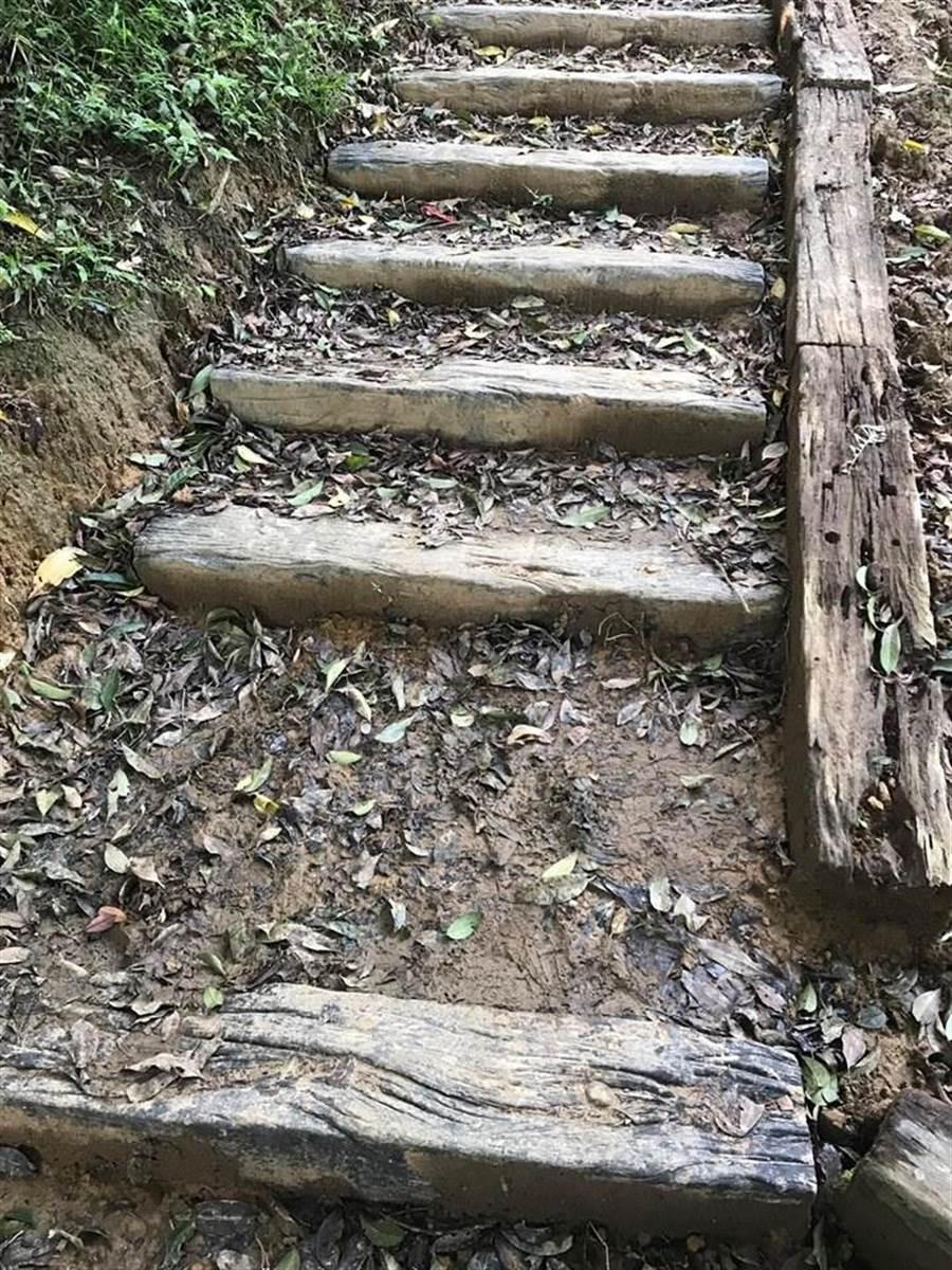 基隆姜子寮山步道日前進行整修,市議會市政考察團16日至現場視察後發現愈改愈糟。(張穎齊攝)